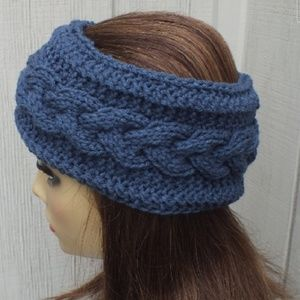 Knitted Headband ear warmer cable Blue